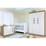 Móveis para Bebê Guarda Roupa 04 Portas + Cômoda Ana Clara + Berço  Mini Cama 230 - Phoenix Baby