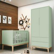 Quarto de Bebê Classic Retrô Com Guarda Roupa 2 Portas  + Berço Mini Cama - Verde Fosco - Reller