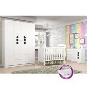 Quarto de Bebê com Berço J 0062 + Colchão + Guarda Roupa 4 Portas, Cômoda Livia - Phoenix Baby