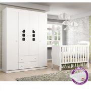 Quarto de Bebê com Guarda Roupa 4 Portas Livia Phoenix Baby + Berço J 0062 + Colchão