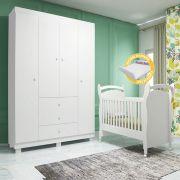 Quarto de Bebê Emile Slim com Guarda Roupa 4 Portas + Berço Mini Cama 251 - Branco