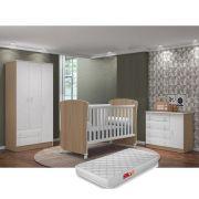Quarto de Bebê Guardo Roupa 3 Portas + Cômoda + Berço 2484 + Colchão - QMovi