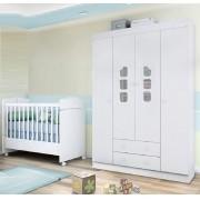 Quarto De Bebê Lívia Com Guarda Roupa 04 Portas + Berço Mini Cama - Phoenix Baby