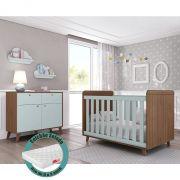 Quarto de Bebê Retrô com Cômoda + Berço + Colchão - Multimóveis