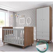 Quarto de Bebê Retrô com Guarda Roupa + Berço + Colchão - Multimóveis