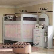 Quarto Modulado Infanto Juvenil Composto por Cômoda e Beliche kappesberg