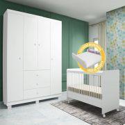Quarto para Bebê Emile Slim com Guarda Roupa 4 Portas + Berço Mini Cama SR