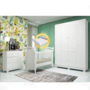 Quarto para Bebê Emile Slim com Guarda Roupa 4 Portas + Cômoda + Berço Mini Cama 251 - Branco