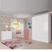 Quarto para Bebê Helena com Guarda Roupa + Cômoda + Berço Mini Cama  - Phoenix Branco/Rosa