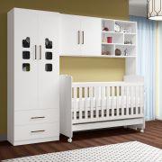 Quarto para Bebê Selena com Guarda Roupa 2 Portas + Módulo Aéreo + Berço 230