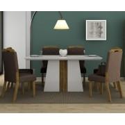 Sala de Jantar Mesa Itália com Tampo de Madeira Chanfrado com Vidro  + 6 Cadeiras Nevada - DJ Móveis