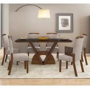 Sala de Jantar Mesa Veneto com Tampo de Madeira Chanfrado com Vidro  + 6 Cadeiras Nevada - DJ Móveis