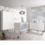 Dormitório Infantil Completo com Guarda Roupa 3 Portas , Berço e Cômoda Retrô Théo Branco Fosco  - Reller Móveis