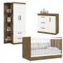 Quarto de Bebê com Guarda Roupa 3 Portas , Berço e Cômoda - Branco/Castanho - EM Moveis