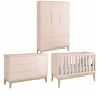 Conjunto de Quarto Bebê Theo 3 Portas com Berço e Cômoda Classic Pes Natural - Reller