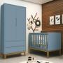 Quarto Infantil Classic Retrô Com Guarda Roupa 2 Portas  + Berço Mini Cama - Reller