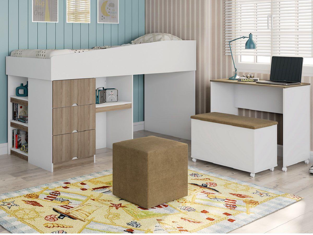 Cama Smart Office Alana com Escrivaninha Embutida + Baú + Colchão - Phoenix Baby