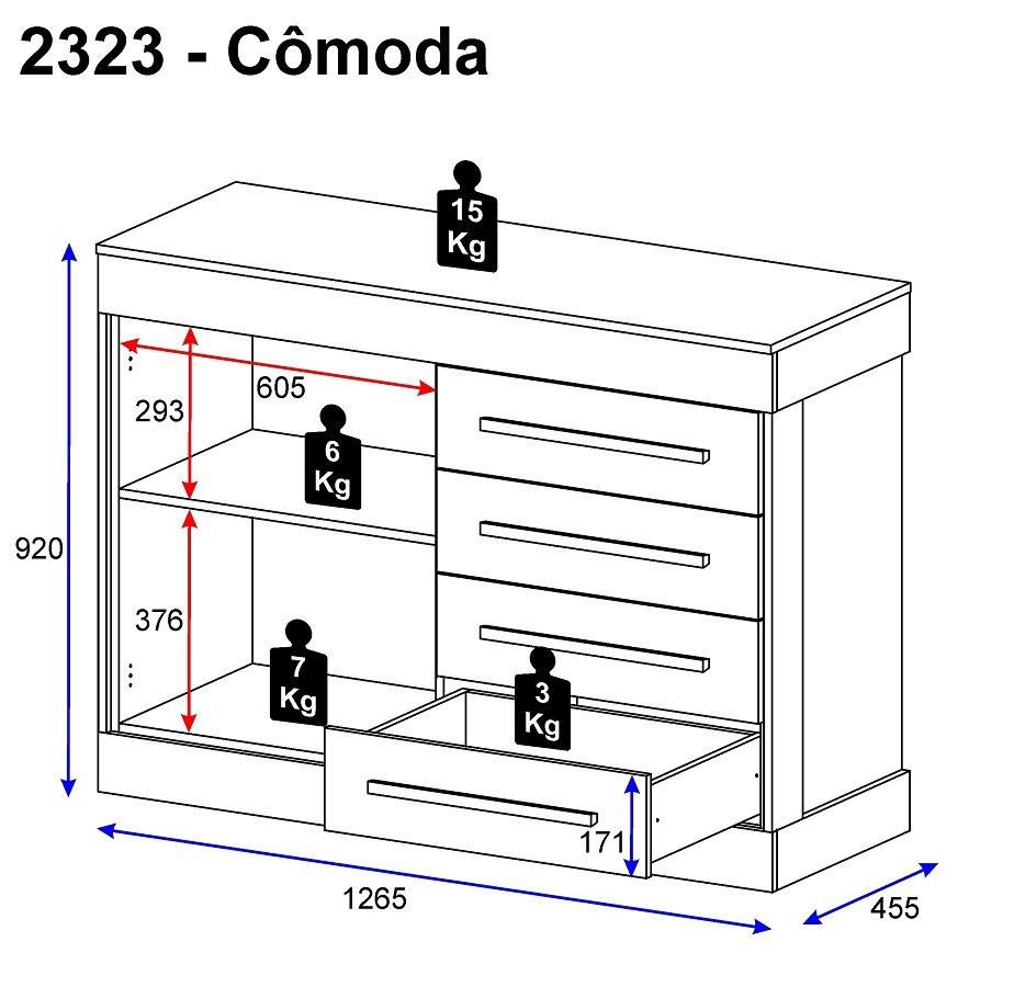 Cômoda 1 Porta E 4 Gavetas 2694 Multimóveis