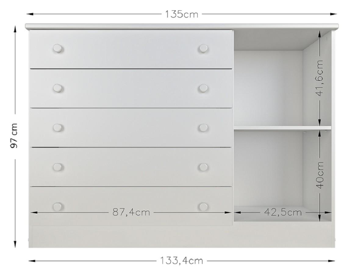 Cômoda 1 Porta E 5 Gavetas 058 Multimóveis