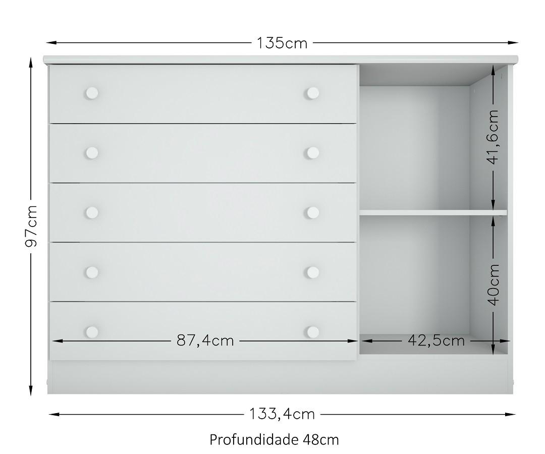 Cômoda 1 Porta e 5 Gavetas 072 Multimóveis