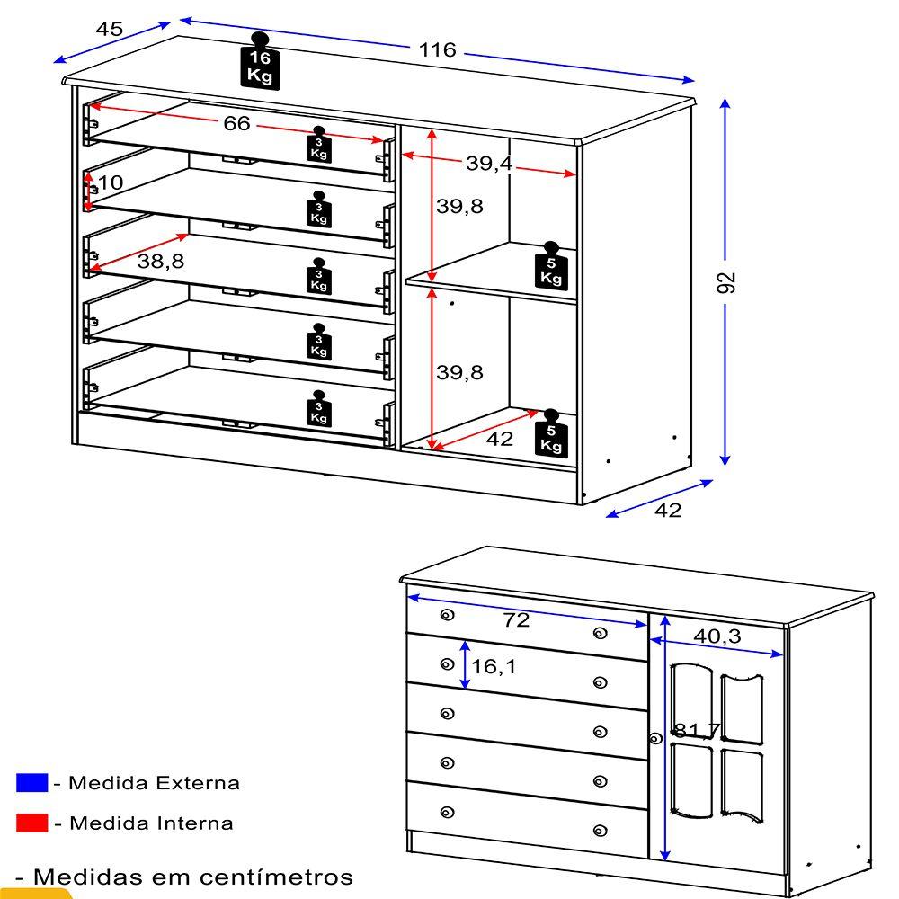 Cômoda 1 Porta E 5 Gavetas 2670 Multimóveis