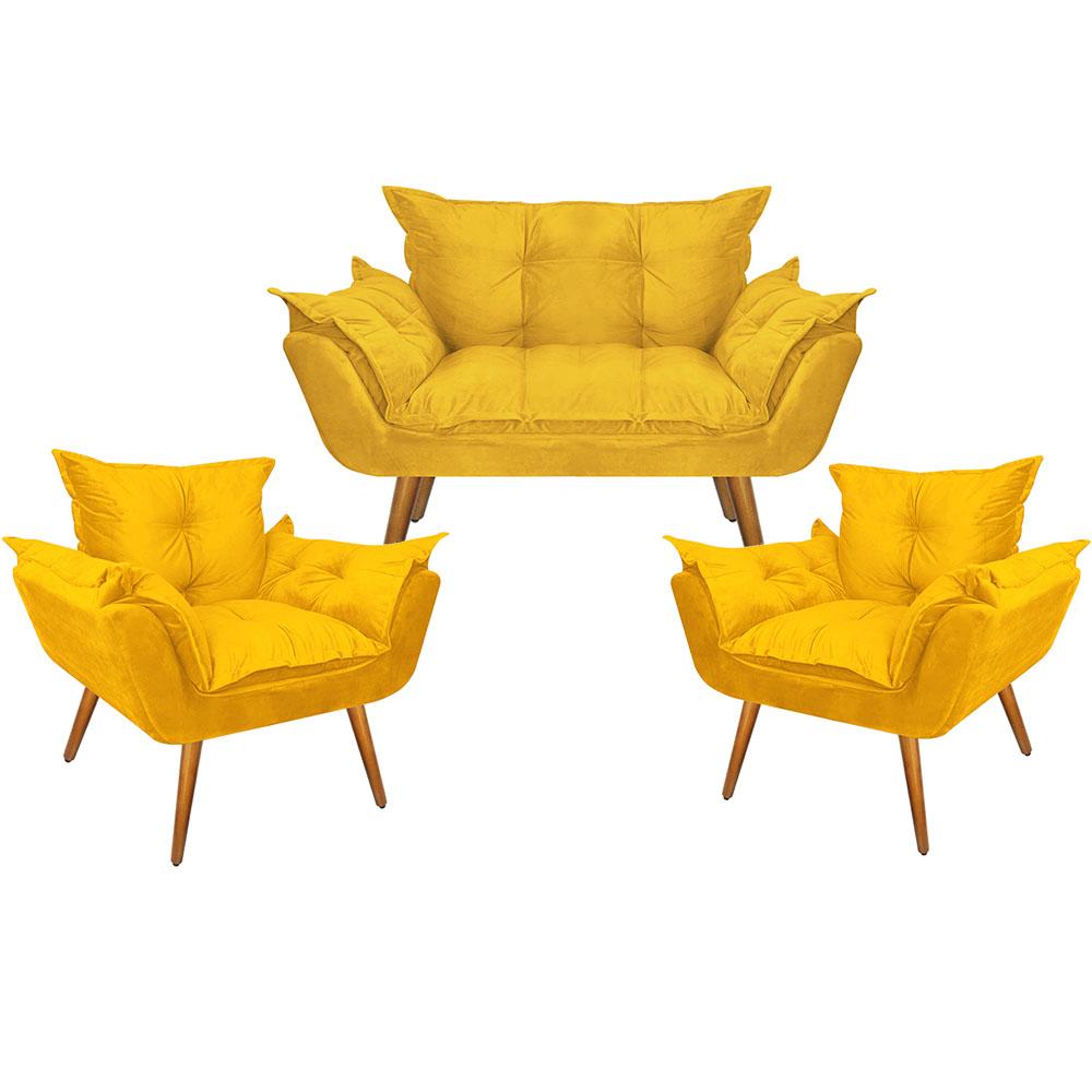 Conjunto De Poltronas Opala 2 Individuais e 1 Namoradeira Suede Amarelo Pés Palito Castanho