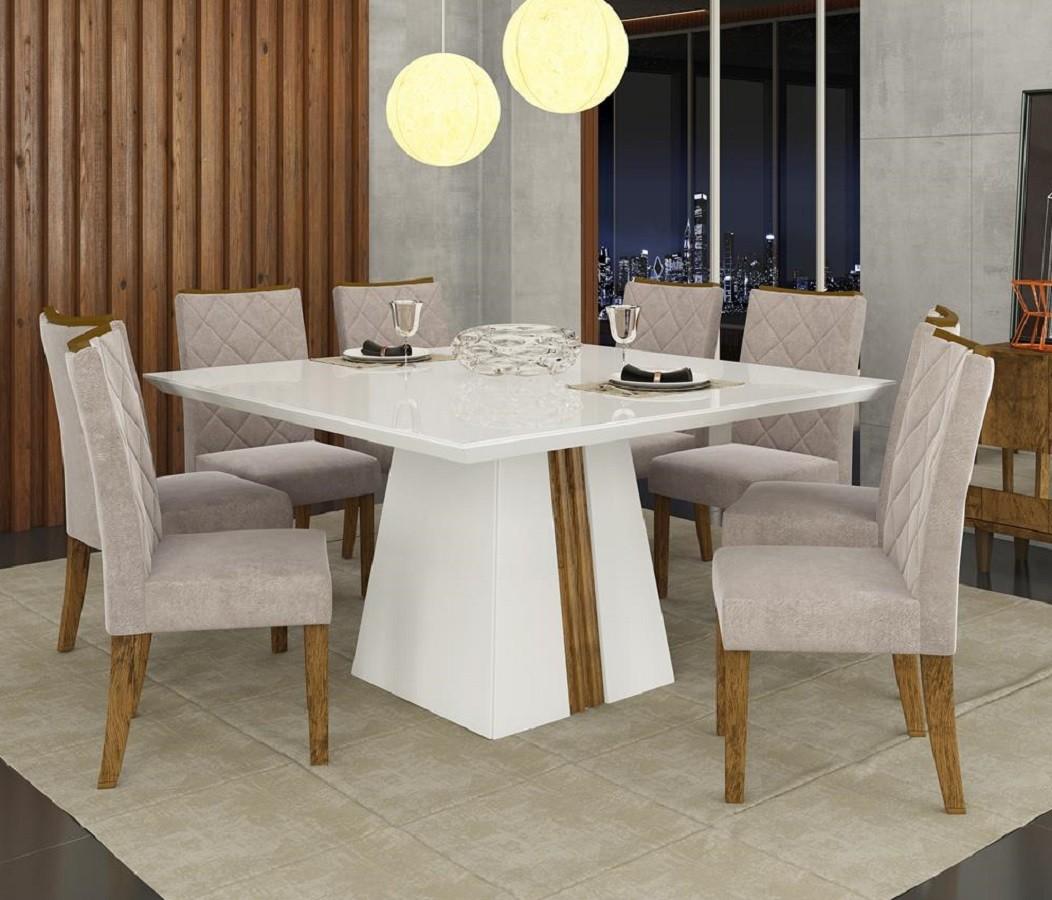 Conjunto de Sala de Jantar Mesa Itália Tampo Madeira Chanfrado com Vidro + 8 Cadeiras Golden DJ Móveis