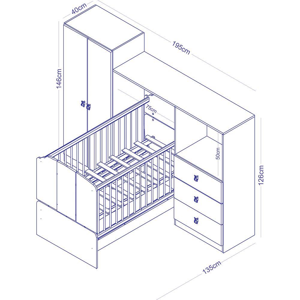 Conjunto Infantil Roupeiro 2 Portas  e Cômoda 3 gavetas Integrados BB 700 Branco Completa Móveis