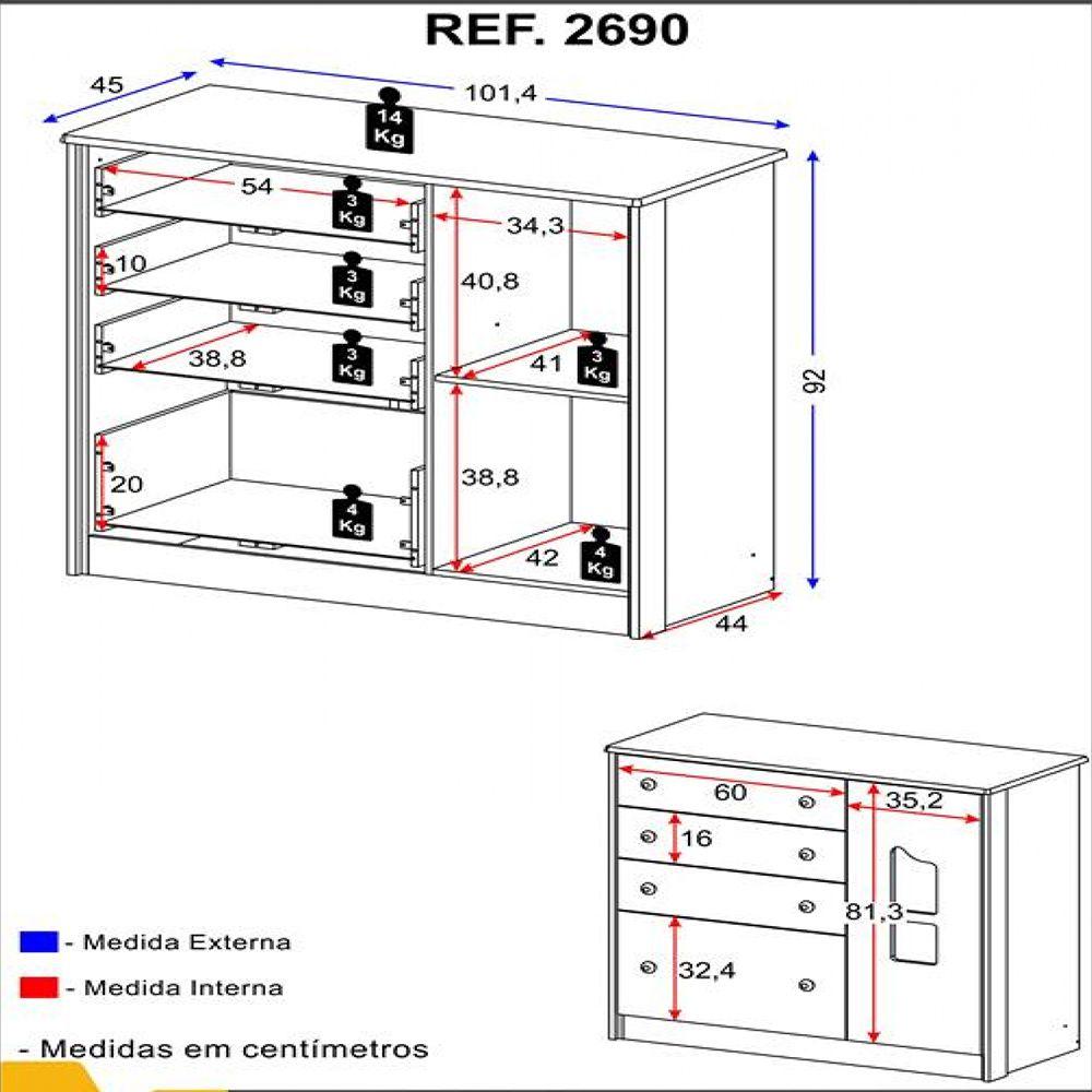 Conjunto Quarto Berço 534, Guarda-Roupa 4 portas e 2 gavetas 2688 e Cômoda 4 gavetas e 1 porta 2690 Linha Camaféu Multimóveis