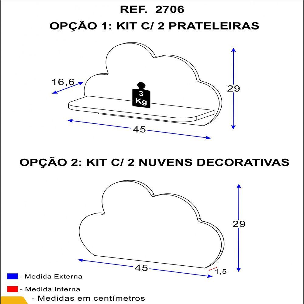 Conjunto Quarto com Mini Cama 2668 e Prateleira 2706 Soninho Multimóveis