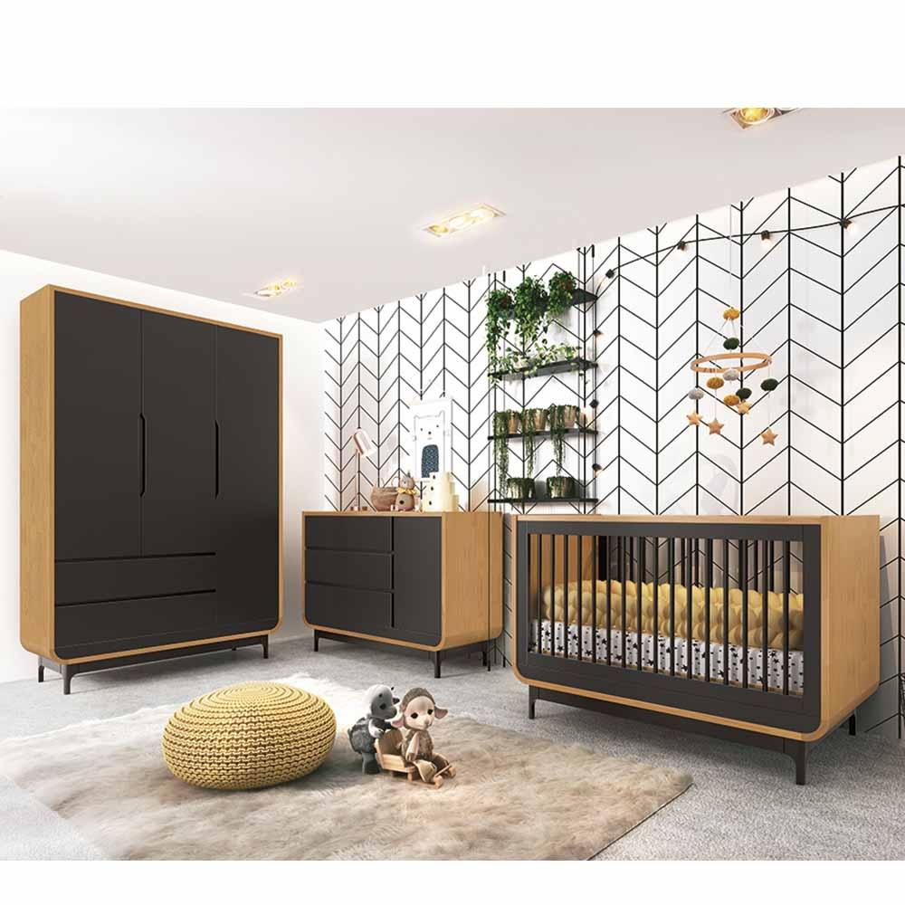 Dormitório Aurora Infantil com Guarda Roupa 3 Portas , Berço e Cômoda - Preto/Wood - EM Moveis