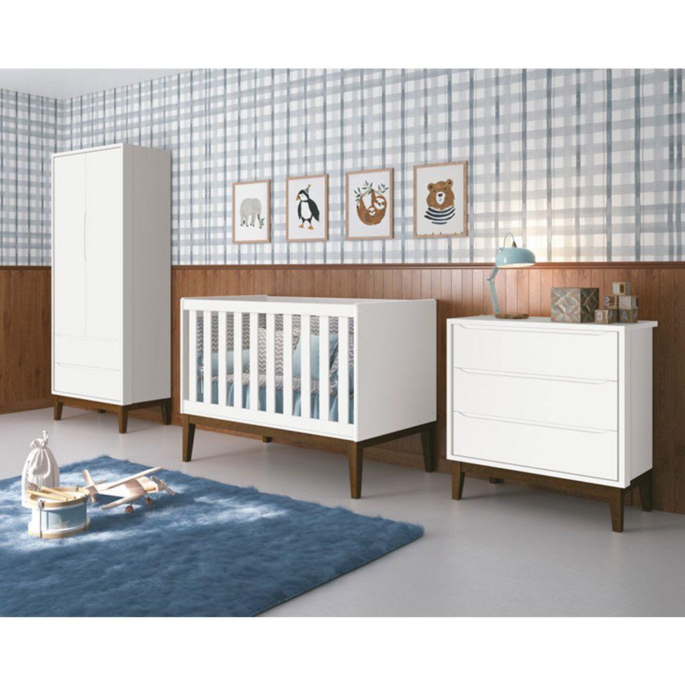 Dormitório Classic Retrô Com Guarda Roupa 2 Portas + Cômoda + Berço - Reller