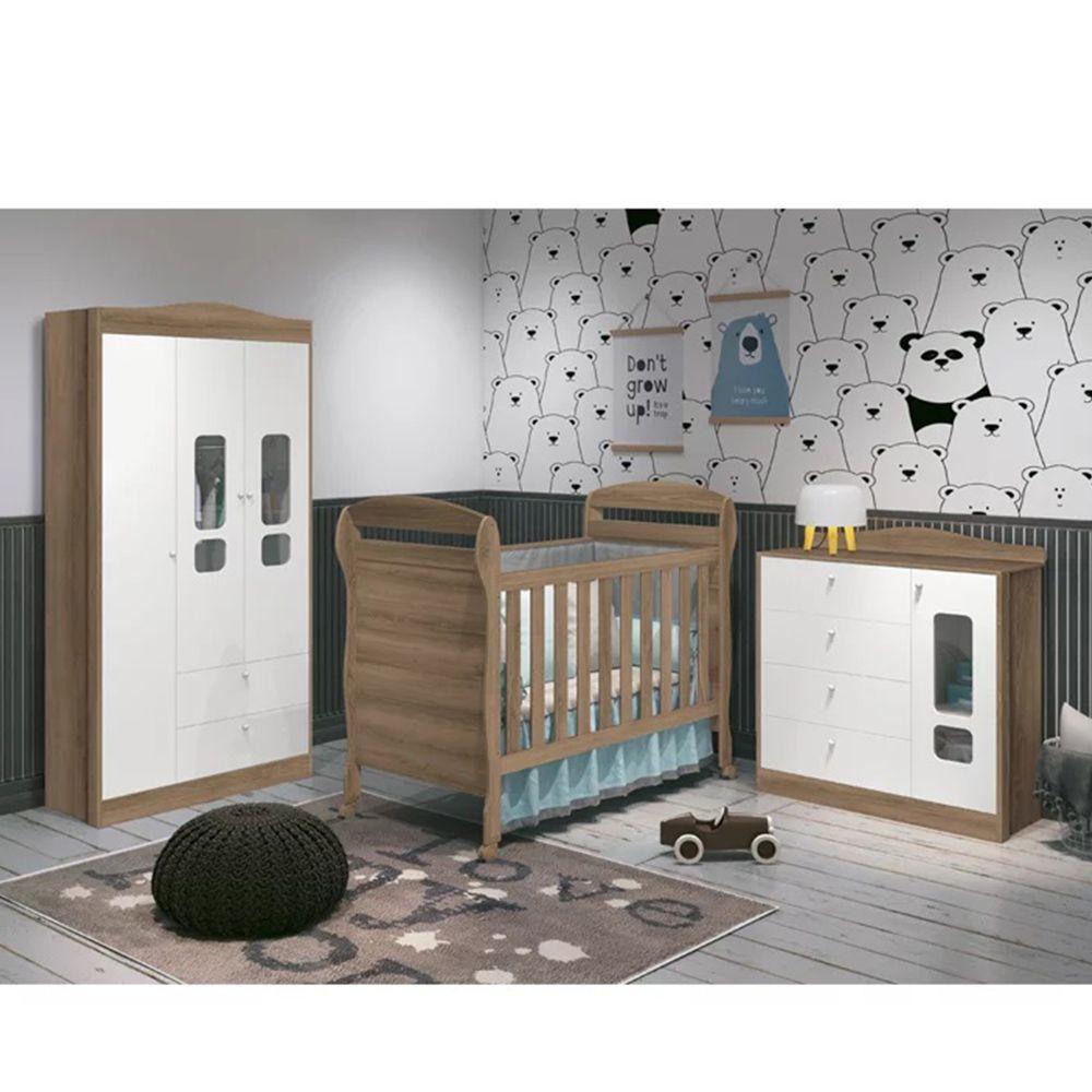 Dormitório Danny Com Guarda Roupa 3 Portas + Cômoda + Berço Mini Cama - Reller