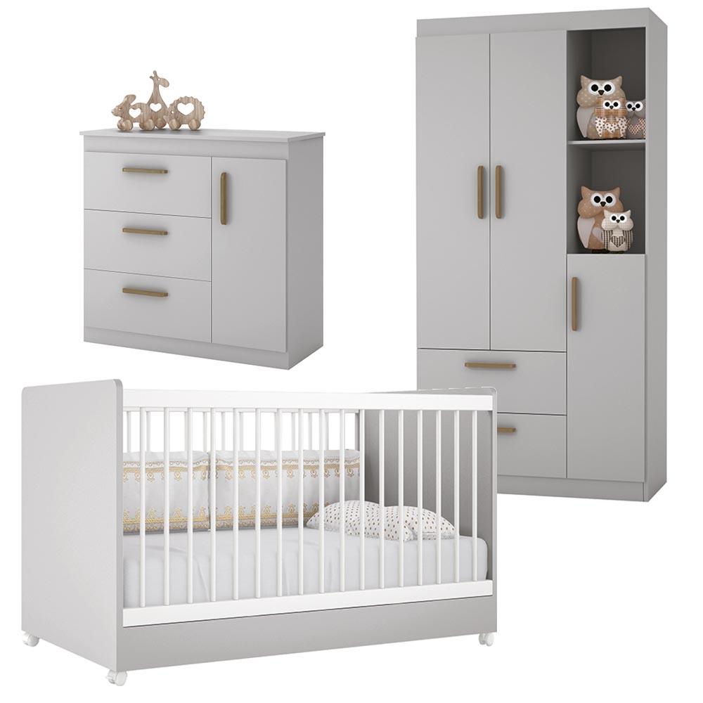Dormitório Floc Infantil com Guarda Roupa 3 Portas , Berço e Cômoda - Cinza - EM Moveis