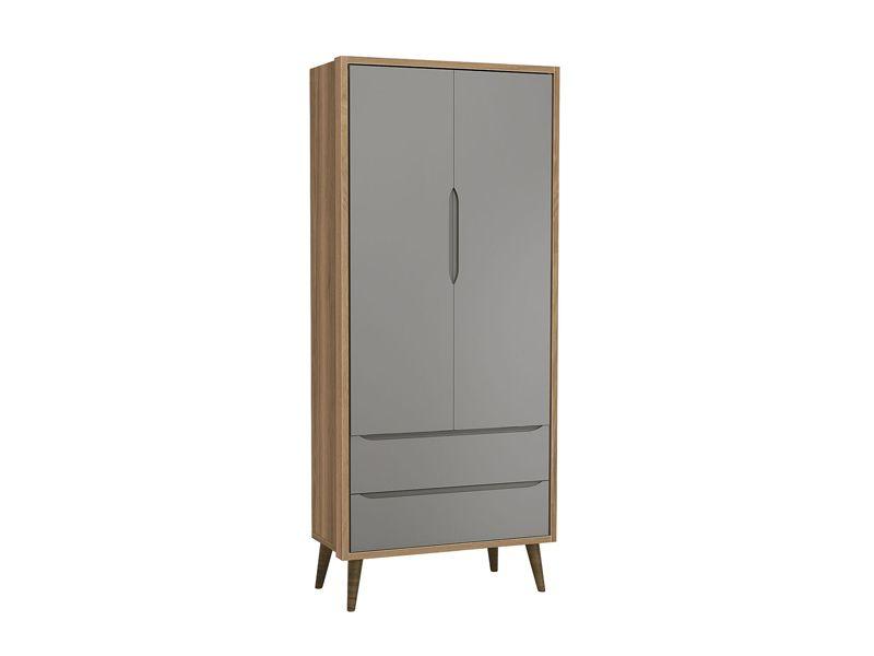 Dormitório Théo Retrô Com Guarda Roupa 2 Portas + Cômoda + Berço - Cinza Fosco/Mezzo Fosco