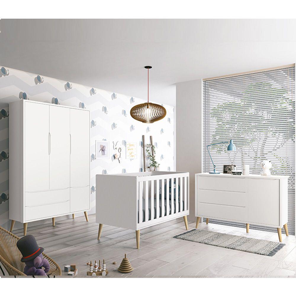 Dormitório Théo Retrô Com Guarda Roupa + Cômoda + Berço - Branco Fosco - Reller