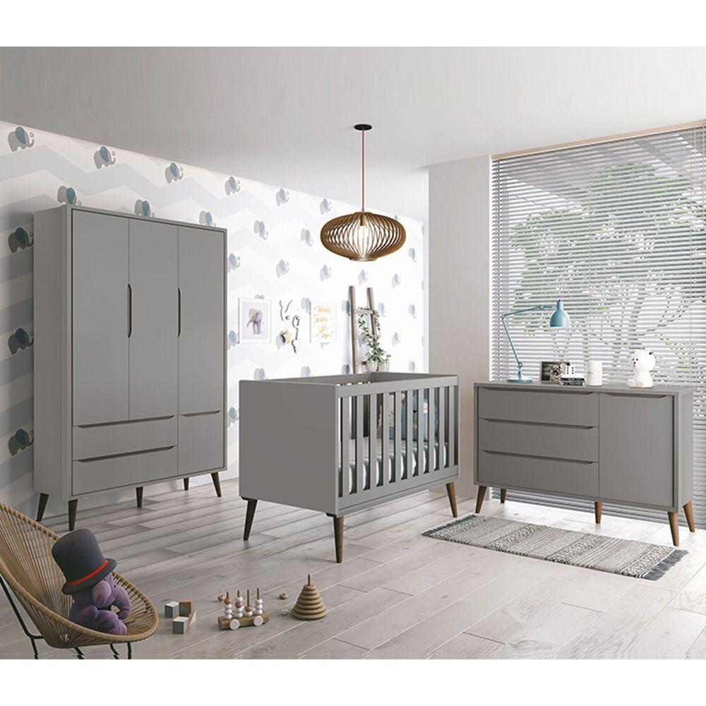 Dormitório Théo Retrô Com Guarda Roupa + Cômoda + Berço - Cinza Fosco