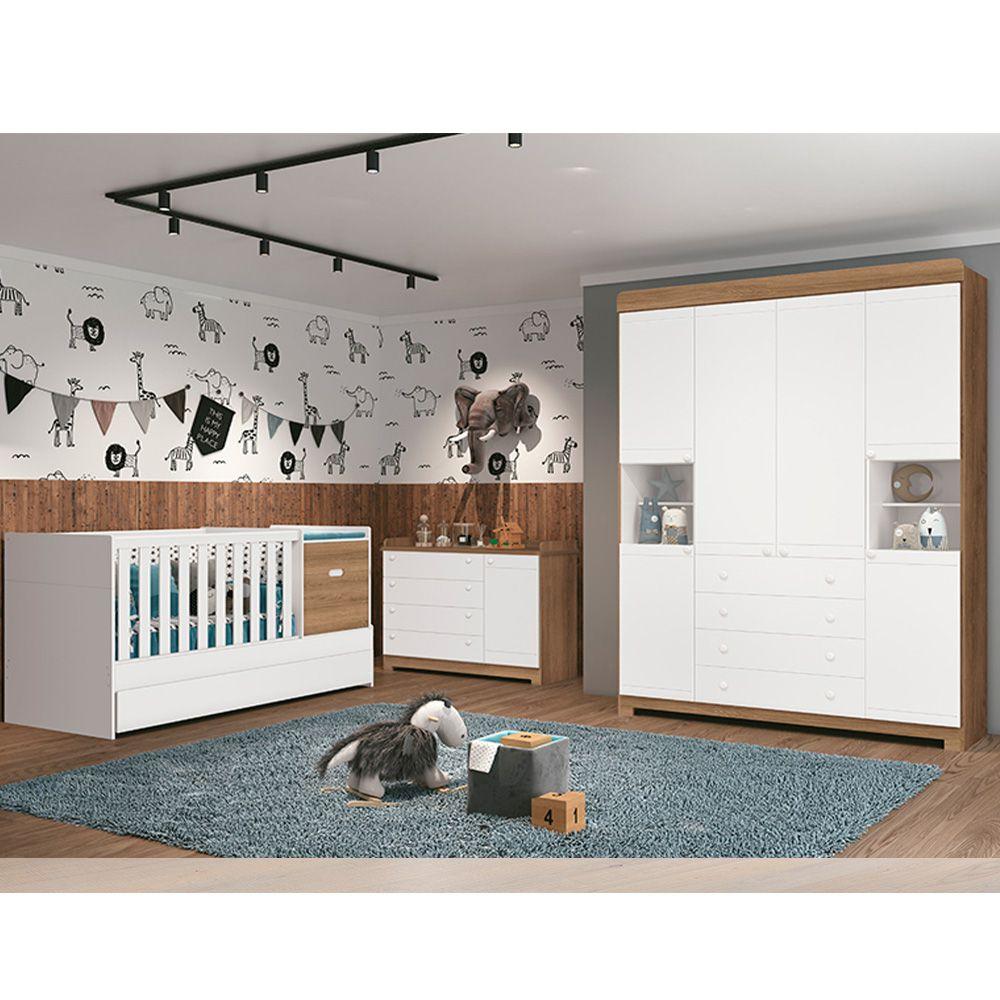 Dormitório Vitória Com Guarda Roupa + Cômoda + Berço - Reller
