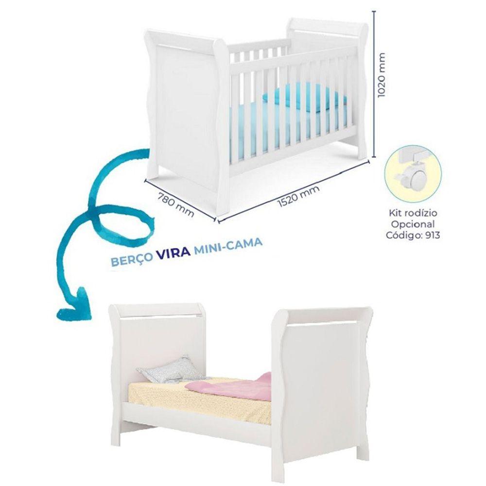 Guarda Roupa 4 Portas Ana Livia + Berço Mini Cama 251 +  Colchão - Phoenix Baby