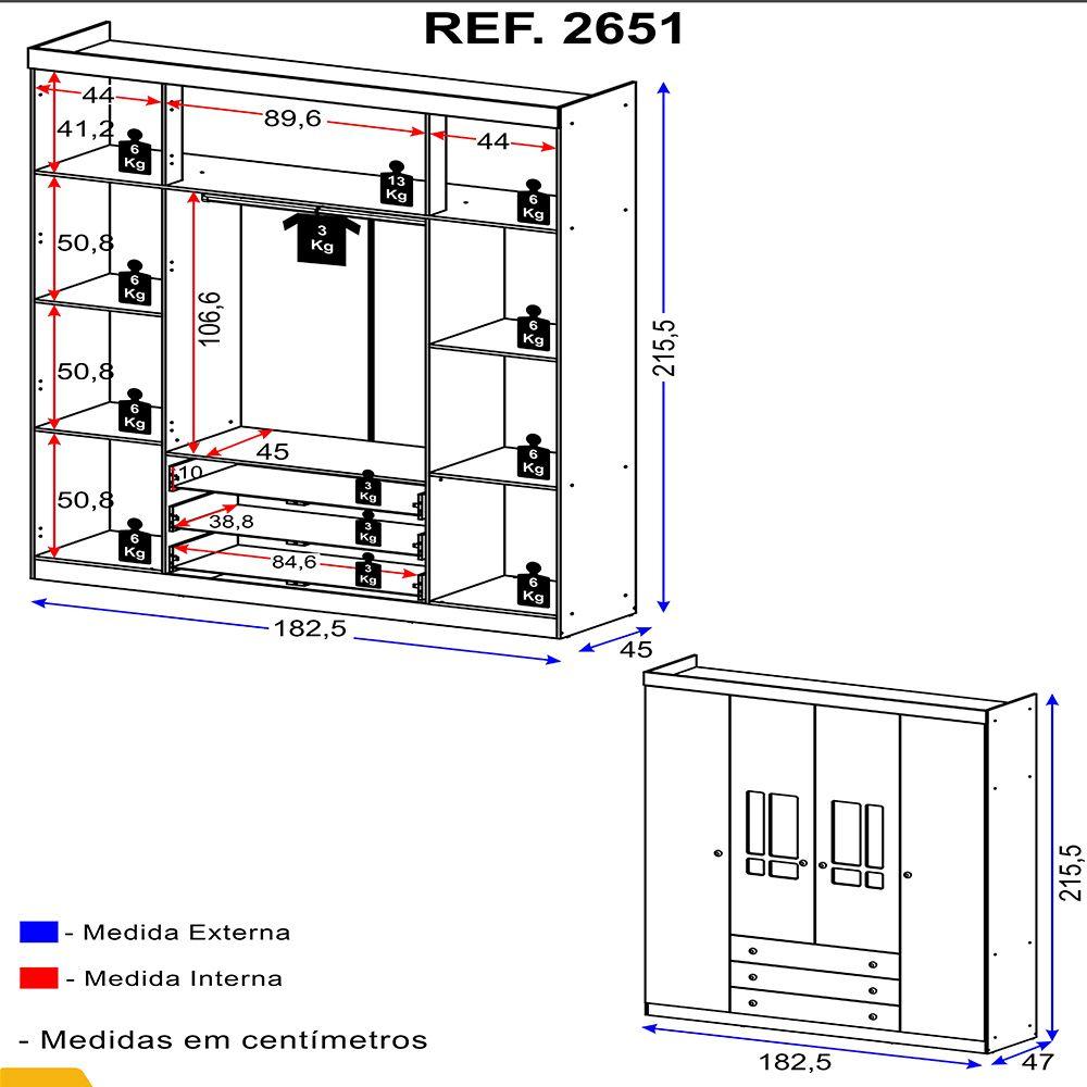 Guarda Roupa 4 Portas E 3 Gavetas 2651 Linha Brigadeiro Multimóveis