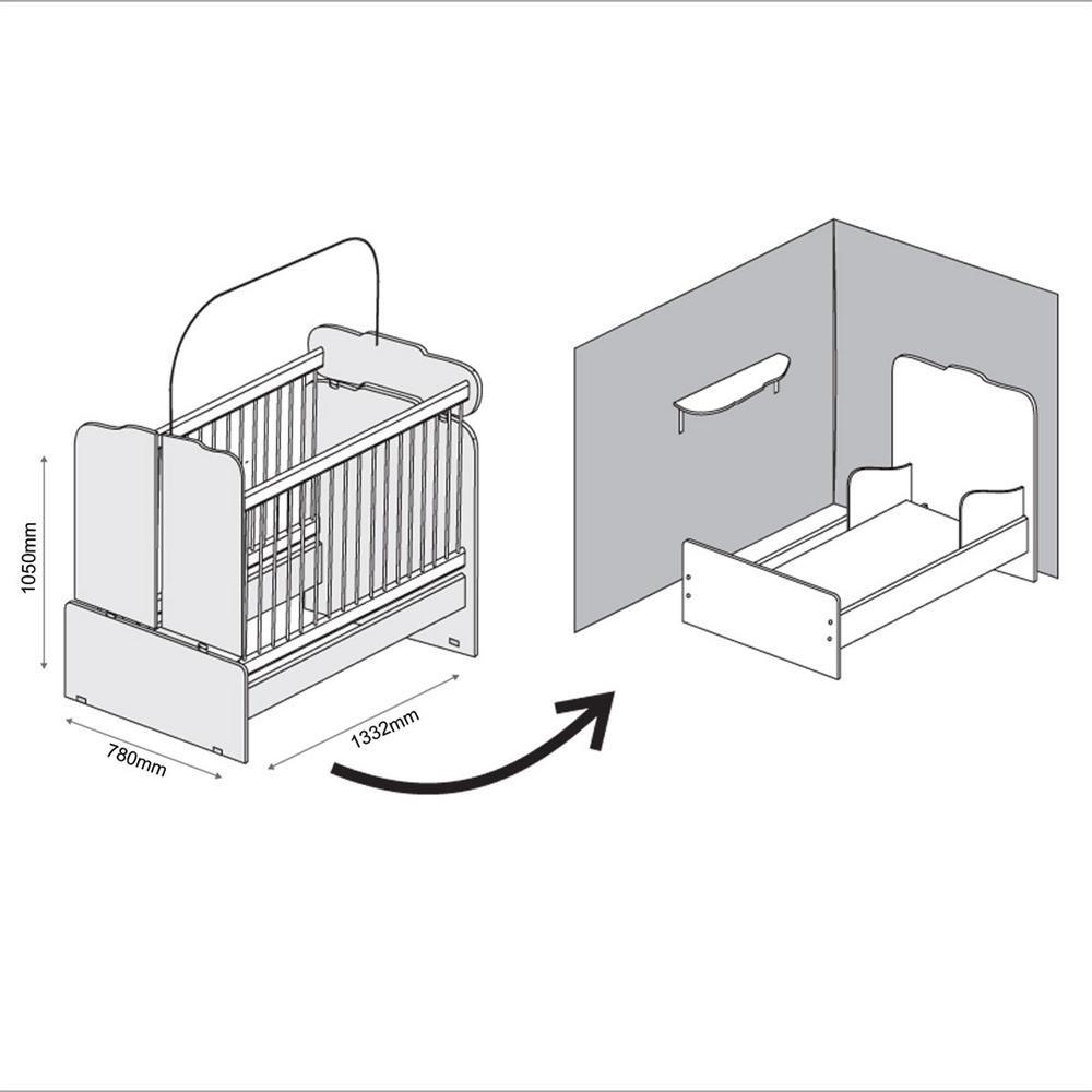 Guarda Roupa de 2 Portas + Modulo Aéreo + Guarda Roupa 1 Porta Eloísa + Berço Mini Cama 230 - Phoenix
