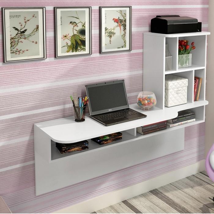 Home Office Bancada De Estudo Suspensa Lilac - Colibri Móveis