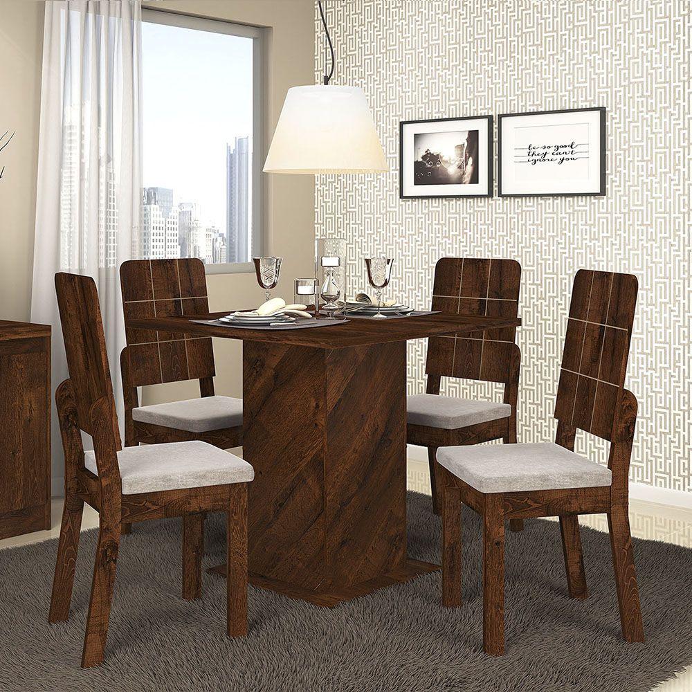 Jogo De Mesa Formosa Com 4 Cadeira Dama Dj Móveis