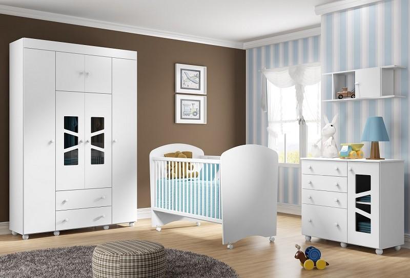 Jogo De Quarto De Bebê Com Guarda Roupa, Cômoda, Prateleira E Berço Multimóveis