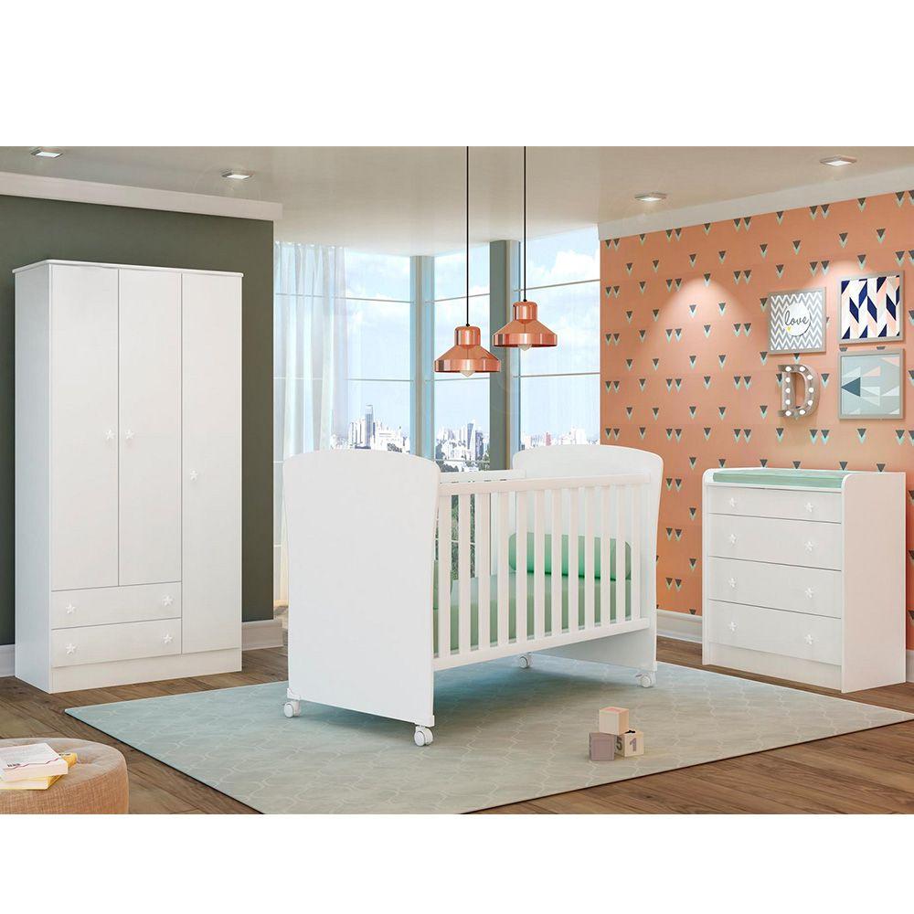Jogo de Quarto de Bebê Guardo Roupa 3 Portas + Cômoda + Berço 2484 Doce Sonho - QMovi