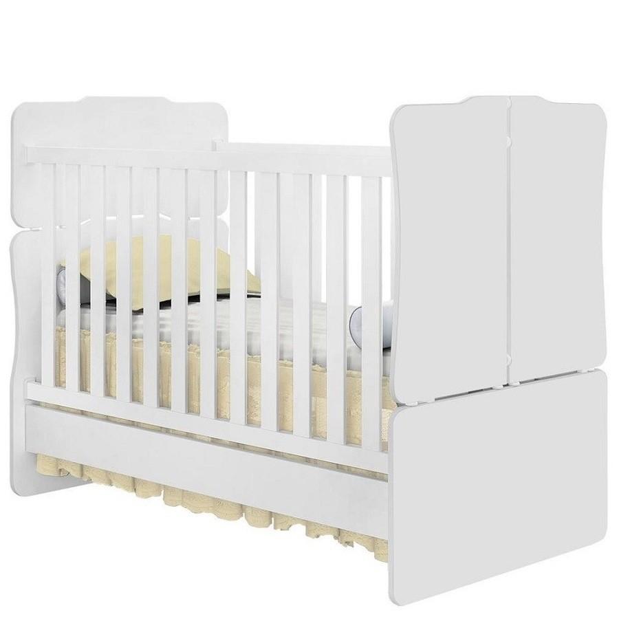 Quarto de Bebê com Guarda Roupa 04 Portas, Cômoda Letícia e Berço Mini Cama 230 - Phoenix Baby