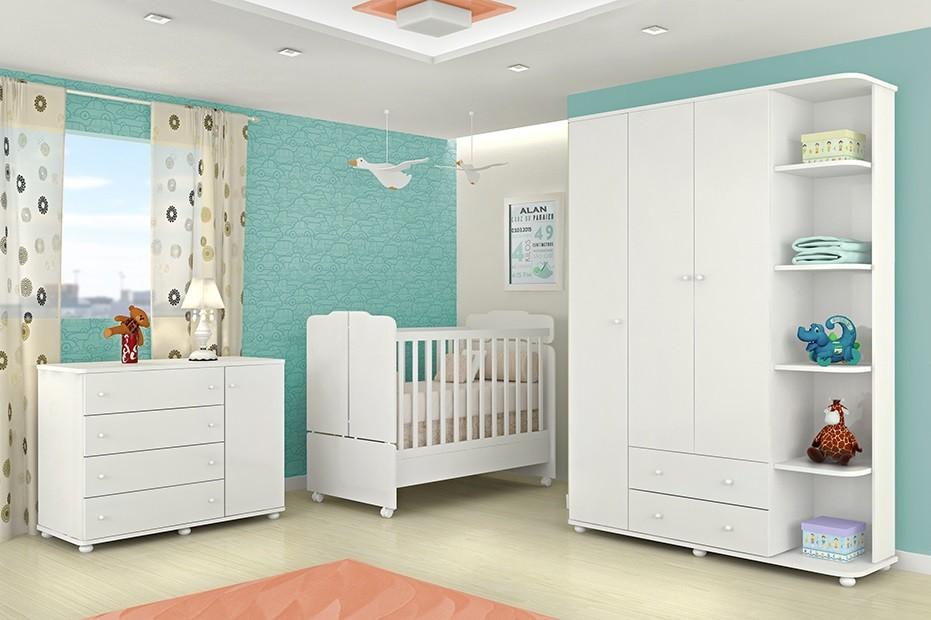Jogo De Quarto Infantil Com Guarda Roupa De 3 Portas +Cômoda Lorena + Berço Mini Cama 230 - Phoenix Baby
