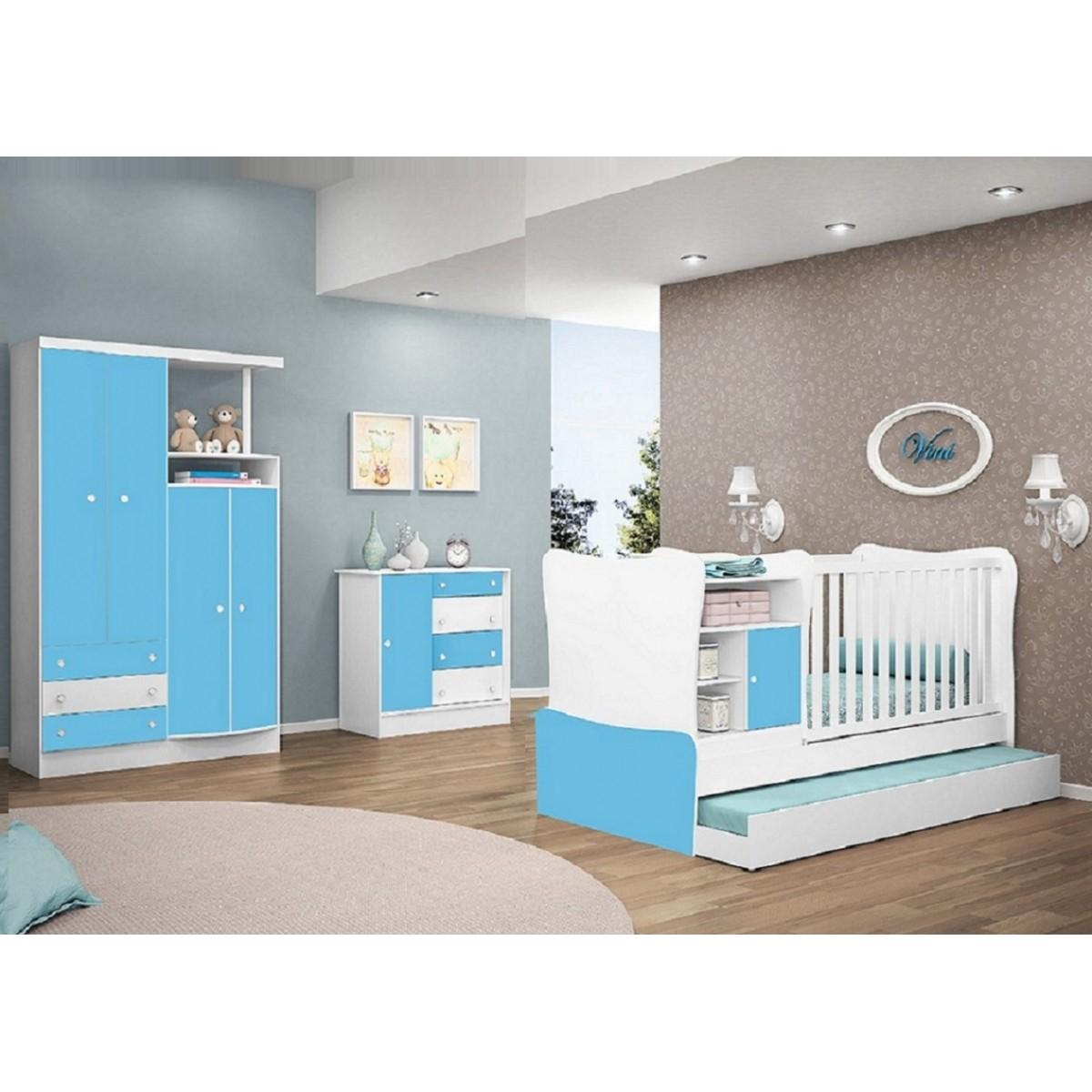 Quarto de Bebê  com Guarda Roupa + Cômoda + Cama + Cama Auxiliar + Criados Doce Magia - QMovi