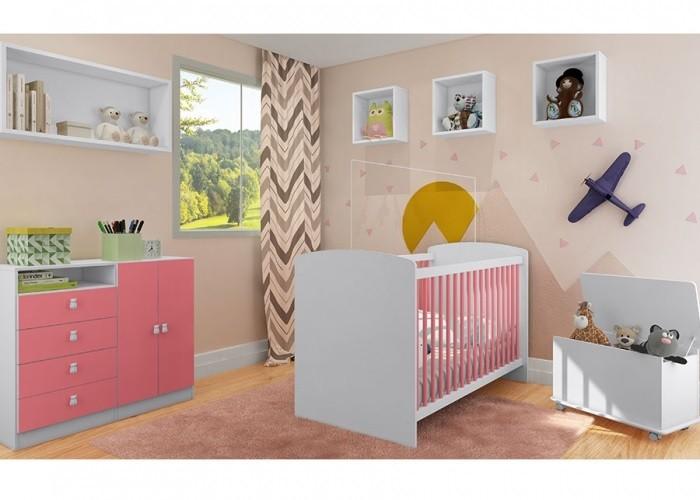 Jogo de Quarto para Bebê com Berço Aconchego 1015 + Cômoda 4069  + Baú Meu Fofinho Art In Móveis