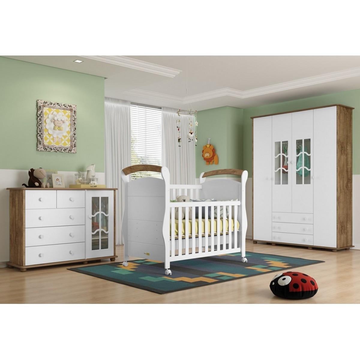 Jogo De Quarto Para Bebê Com Guarda Roupa + Cômoda Confort + Berço Mini Cama Fratelli Matic